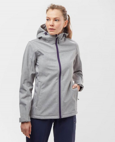 Women-New-Fashion-Hooded-Marl-Softshell-Jacket