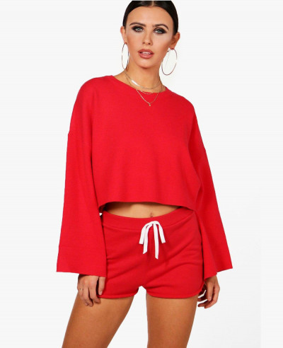 Women-Red-Raw-Hem-Runner-Short