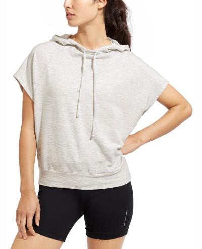 Women-Short-Sleeve-Pullover-Grey-Hoodie