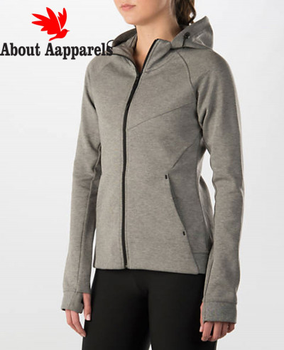 Women-Sweatshirts-Tech-Fleece-Full-Zipper-Carbon-Heather-Black-Hoodie