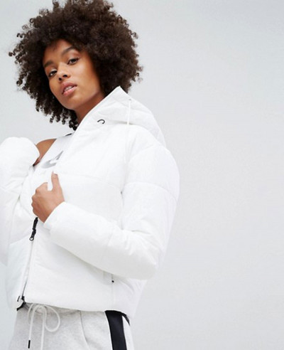 Women-White-Short-Padded-Jacket-With-Branded-Waistband