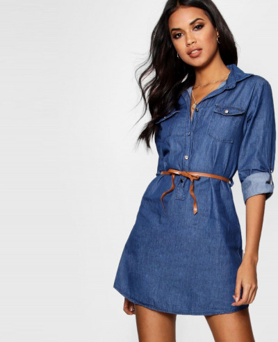 Women-Denim-Belted-Button-Front-Shirt-Dress