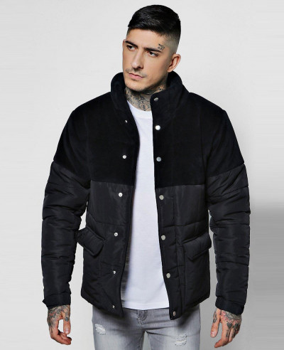 Zip-Up-Velour-Panel-Puffer-Padded-Jacket