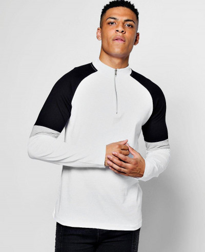 Zipper-Collared-Long-Sleeve-Colour-Block-T-Shirt