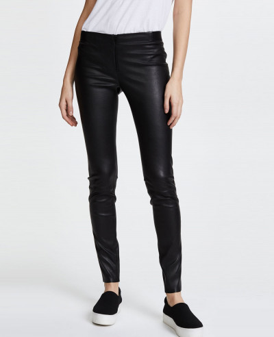 Zipper-Front-Leather-Leggings