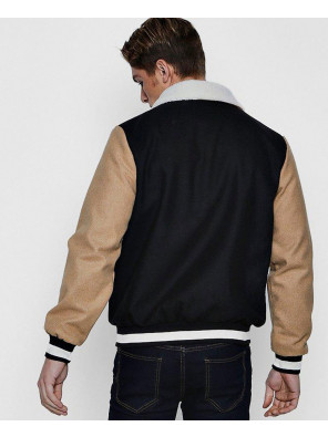 Contrast-Sleeve-Borg-Collar-Varsity-Jacket