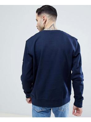 High-Quality-Men-Handmade-Crew-Neck-Sweatshirt-in-Navy