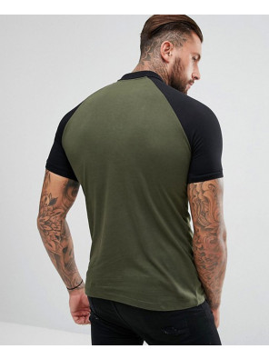 Hot-Selling-Men-Contrast-Raglan-In-Green-Polo-Shirts