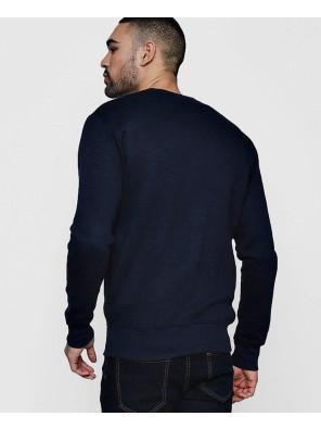 Hot-Selling-Men-Navy-Blue-Jersey-Bomber-Fleece-Sweatshirt