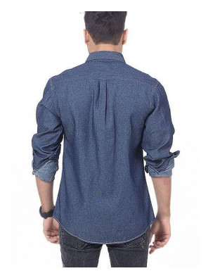 Men-Dark-Blue-Denim-Shirt-with-Snap-Buttons