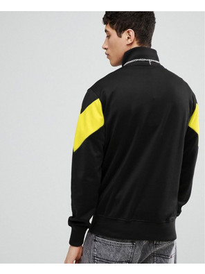 Men-High-Quality-Half-Zipper-Sweatshirt-With-Chevron-Panel-In-Black