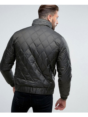 Men-khaki-Quilted-Black-Jacket