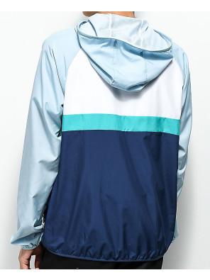 New-Custom-Made-Stylish-Grey--White-&-Blue-Windbreaker-Jacket