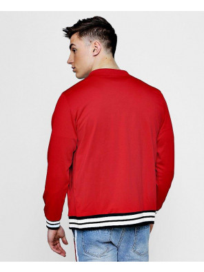 New-Custom-Selling-Red-Sports-Rib-Varsity-Bomber-Jacket