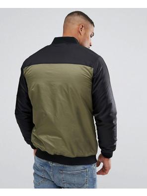 New-Stylish-Custom-Colour-Block-Bomber-Jacket-In-Khaki