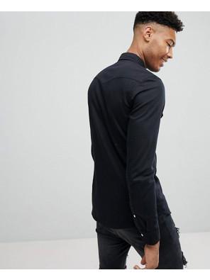 New-Stylish-Skinny-Denim-Western-Shirt-In-Black