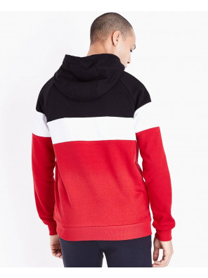 Red-Colour-Block-Stripe-Hooded-Sweatshirt