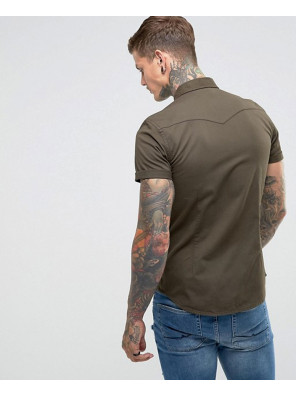 Skinny-Denim-Western-Shirt-In-Khaki