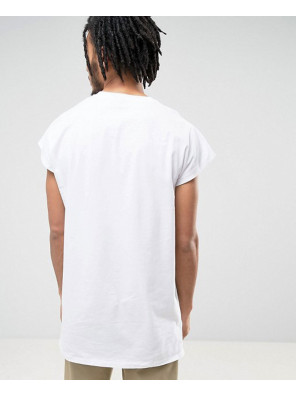 Sleeveless-T-Shirt-With-Splice-Detail-In-White-Tank-Top