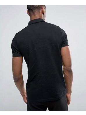 Zip-Up-Black-Neck-Pique-Polo-Shirt