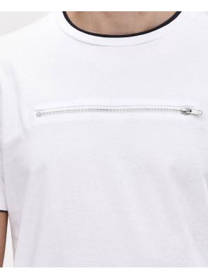 Zipper-T-Shirt-With-Mesh-Curved-Hem