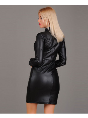 Most-Selling-Custom-Long-Sleeve-Lambskin-Leather-Dress