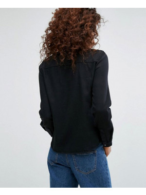 Women-Black-Denim-Shirt