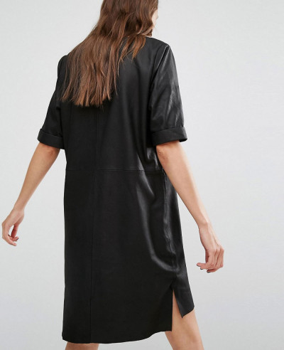 All Black Women Selected Leather Dress
