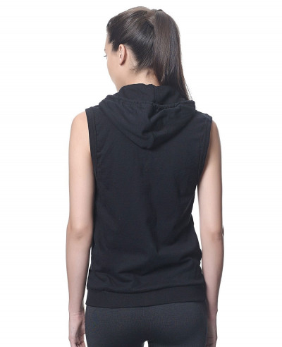 All-Black-Zipper-Sleeveless-Women-Hoodie