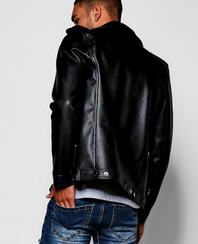 Asymmetric Faux Leather Black Biker Jacket