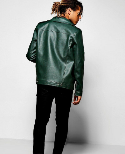 Asymmetric-Faux-Leather-Green-Biker-Jacket