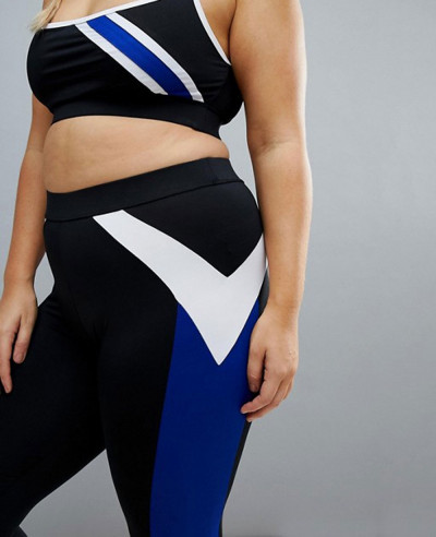 Beach Plus Stripe Gym Legging In Black And Blue Tight Leggings