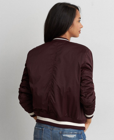 Best Selling Women Burgundy Style Classic Bomber Varsity Jacket