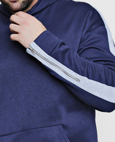 Big And Tall Panel Zip Detail Hoodie