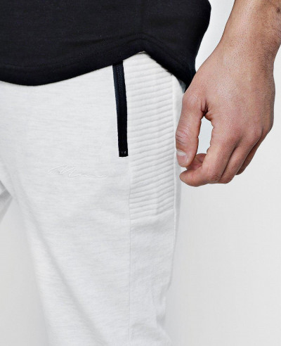 Biker Panelled With Sports Zipper Sweatpant Jogger