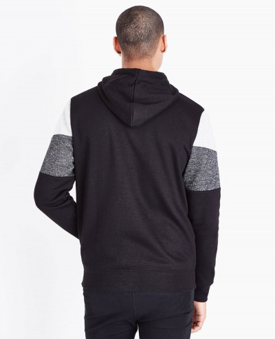 Black Colour Block Zipper Front Hoodie