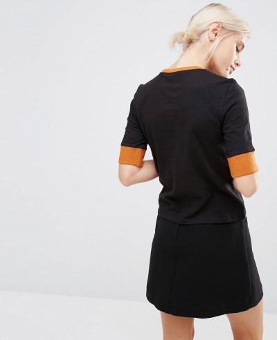Black Contrast Rib T Shirt
