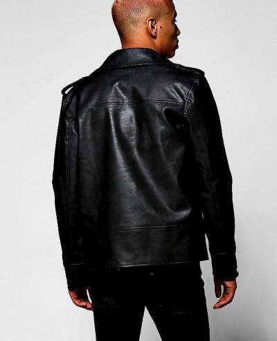 Black Faux Leather Regular Fit Biker Jacket