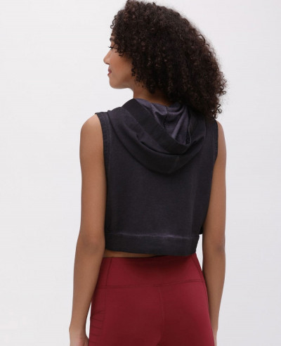 Black Hooded Crop Top