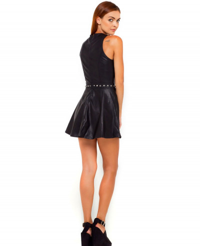 Black Lambskin Leather Dress