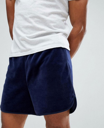 Black Line Velour Shorts In Navy