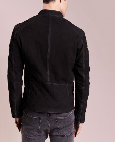 Black Men Biker Suede Real Handmade Leather Jacket