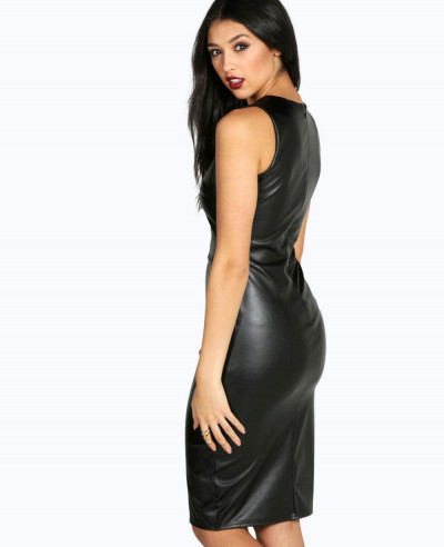 Black Pu Seam Detail Midi Long Leather Dress