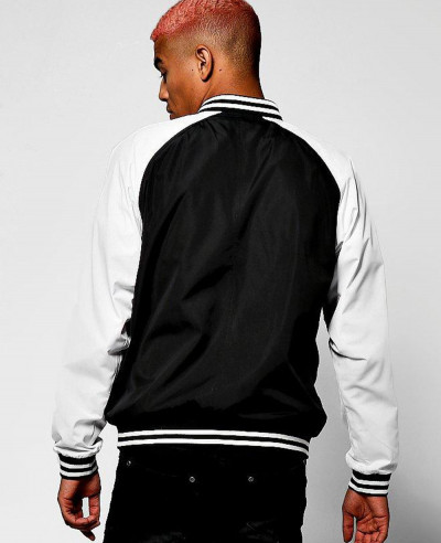Black Raglan Bomber Jacket With Applique Badge Varsity Jacket
