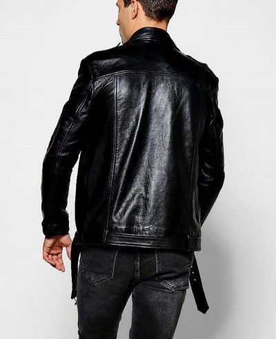 Black Real Leather Biker Jacket