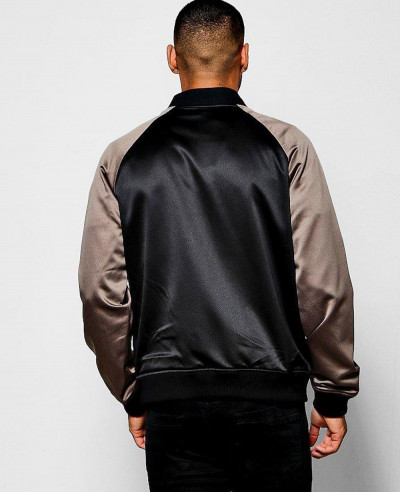 Black Satin Bomber Jacket with Contrast Raglan Sleeves Varsity Jacket