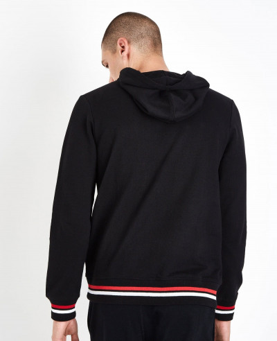 Black-Stripe-Hem-Hooded-Sweatshirt