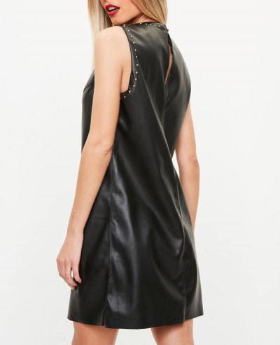 Black Studded Faux Leather Shift Leather Dress
