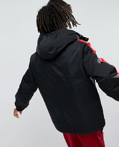 Black With Red Stripe Windbreaker Jacket