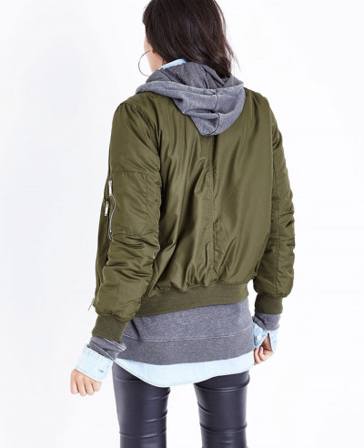 Blue Vanilla Green Satin Bomber Varsity Jacket